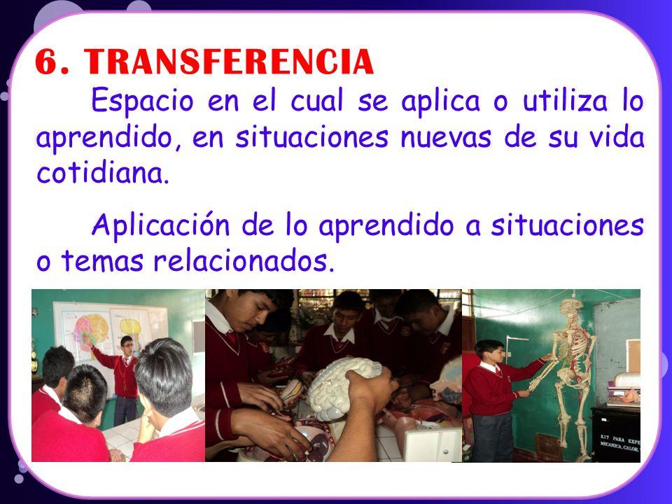 6. TRANSFERENCIA Espacio en el cual se aplica o utiliza lo aprendido, en situaciones nuevas de su vida cotidiana.