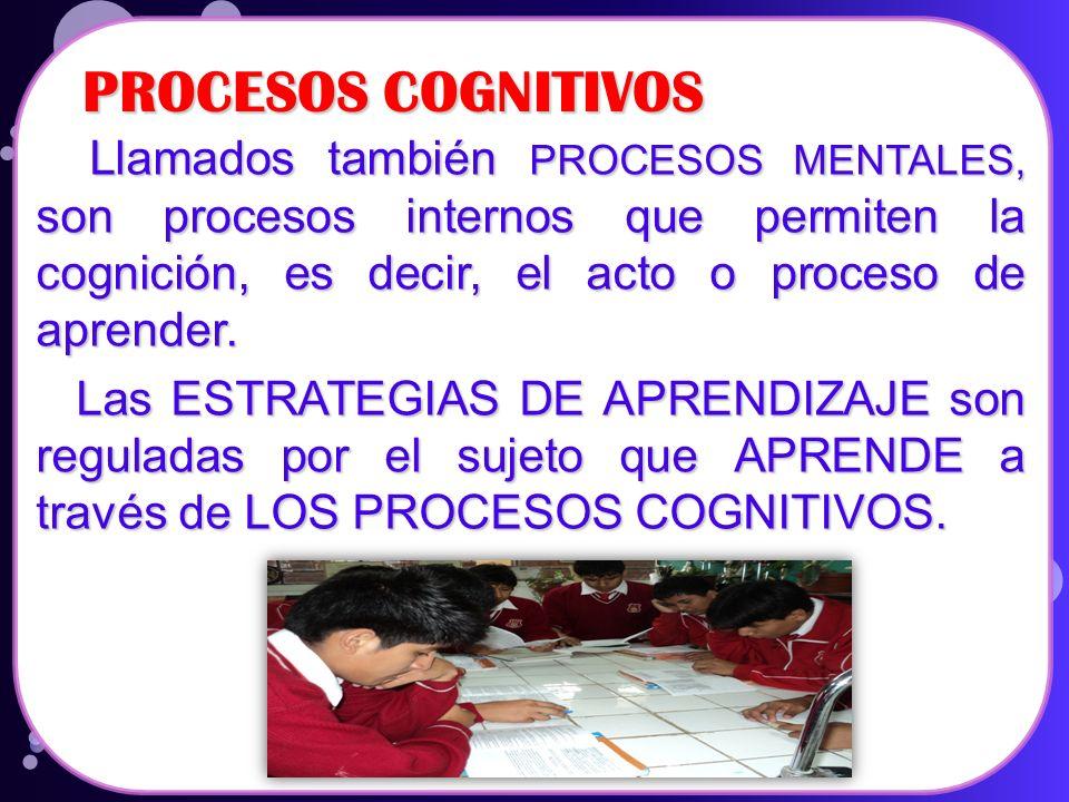PROCESOS COGNITIVOS Llamados también PROCESOS MENTALES, son procesos internos que permiten la cognición, es decir, el acto o proceso de aprender.