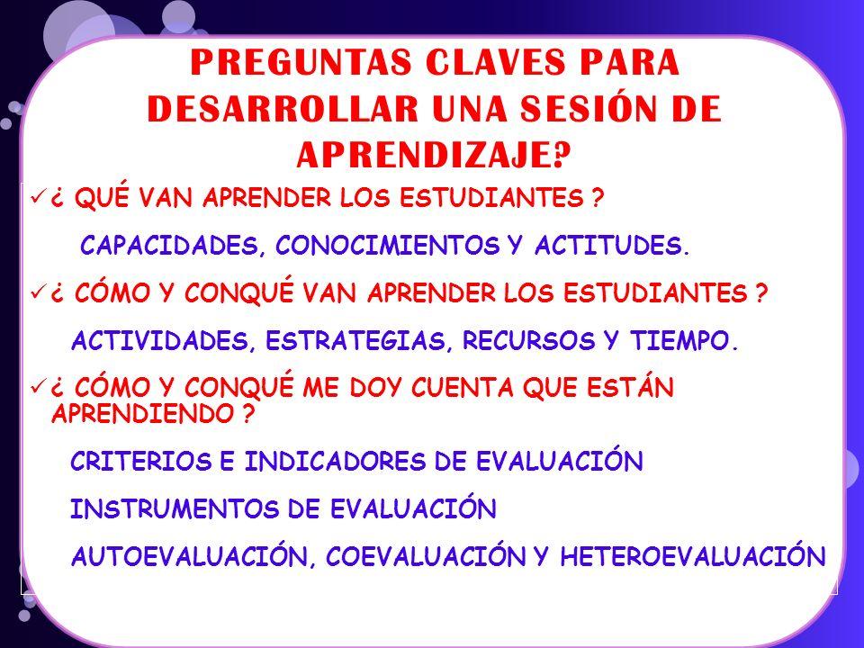 PREGUNTAS CLAVES PARA DESARROLLAR UNA SESIÓN DE APRENDIZAJE