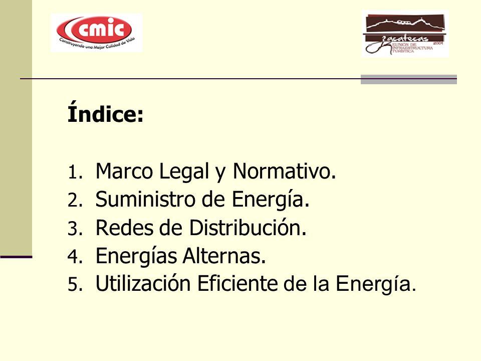 Índice: Marco Legal y Normativo. Suministro de Energía. Redes de Distribución. Energías Alternas.