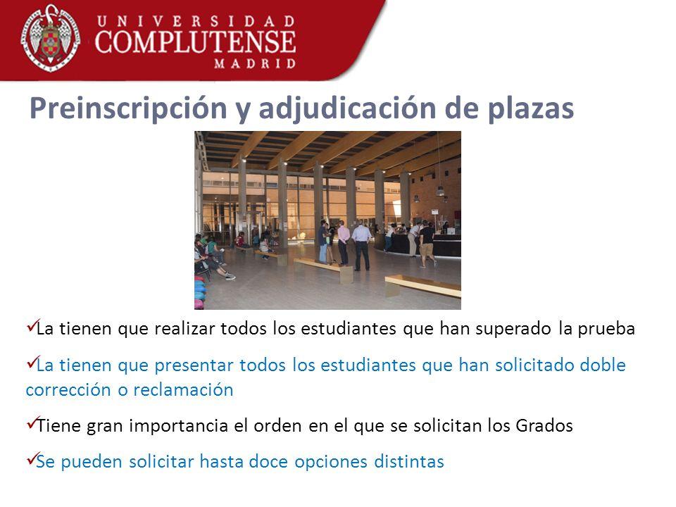 Preinscripción y adjudicación de plazas