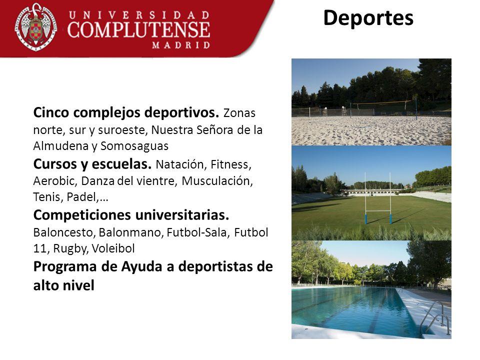 Deportes Cinco complejos deportivos. Zonas norte, sur y suroeste, Nuestra Señora de la Almudena y Somosaguas.