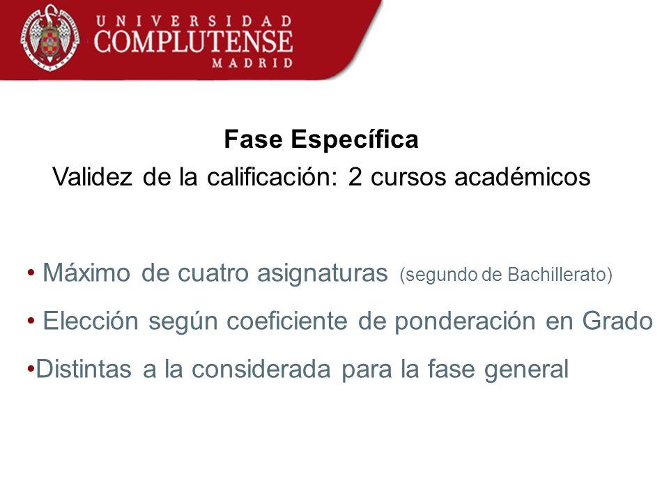 Fase Específica Validez de la calificación: 2 cursos académicos