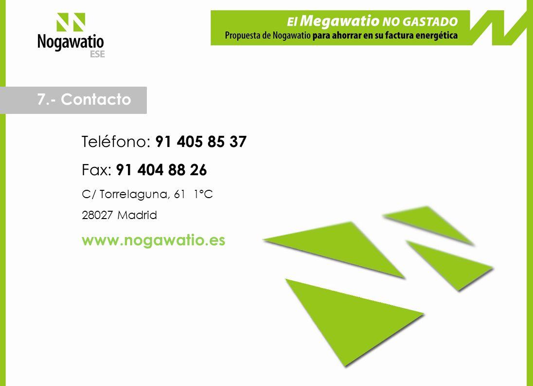 7.- Contacto Teléfono: 91 405 85 37 Fax: 91 404 88 26 www.nogawatio.es