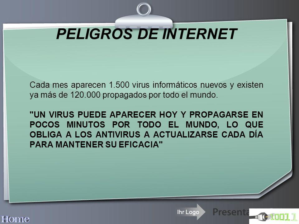 PELIGROS DE INTERNET Cada mes aparecen 1.500 virus informáticos nuevos y existen ya más de 120.000 propagados por todo el mundo.