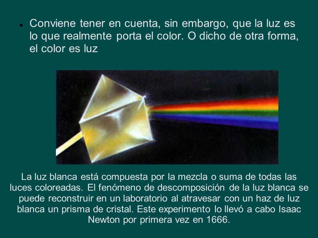 Conviene tener en cuenta, sin embargo, que la luz es lo que realmente porta el color. O dicho de otra forma, el color es luz