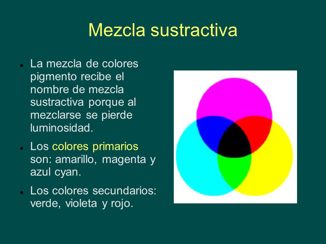 Mezcla sustractiva La mezcla de colores pigmento recibe el nombre de mezcla sustractiva porque al mezclarse se pierde luminosidad.