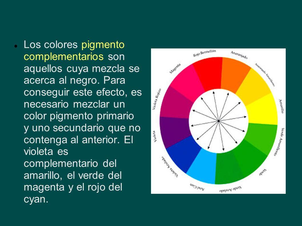 Los colores pigmento complementarios son aquellos cuya mezcla se acerca al negro.