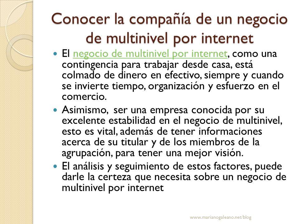 Conocer la compañía de un negocio de multinivel por internet