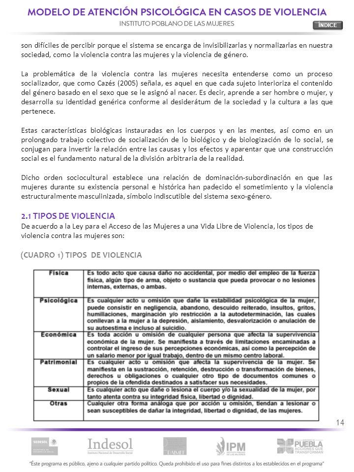 2.1 TIPOS DE VIOLENCIA (CUADRO 1) TIPOS DE VIOLENCIA