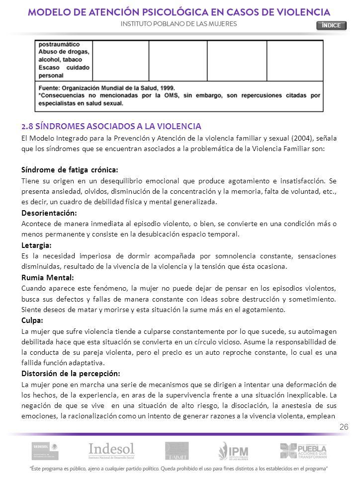 2.8 SÍNDROMES ASOCIADOS A LA VIOLENCIA