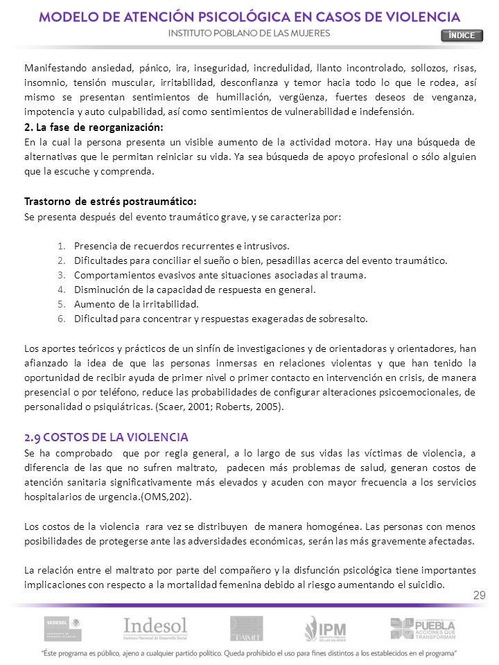 2.9 COSTOS DE LA VIOLENCIA 2. La fase de reorganización: