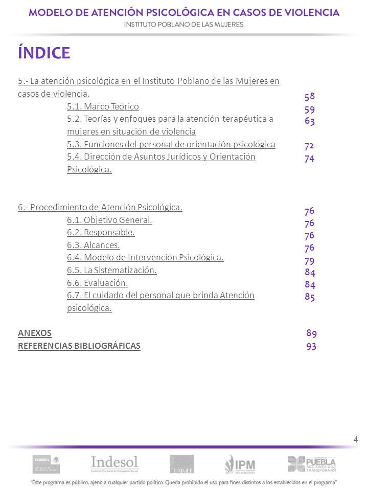 ÍNDICE 5.- La atención psicológica en el Instituto Poblano de las Mujeres en casos de violencia. 5.1. Marco Teórico.