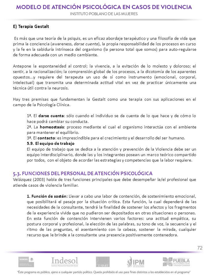 5.3. FUNCIONES DEL PERSONAL DE ATENCIÓN PSICOLÓGICA