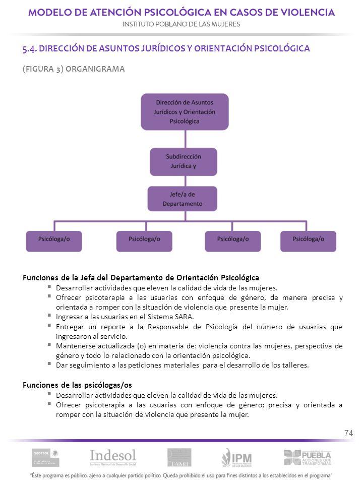 5.4. DIRECCIÓN DE ASUNTOS JURÍDICOS Y ORIENTACIÓN PSICOLÓGICA
