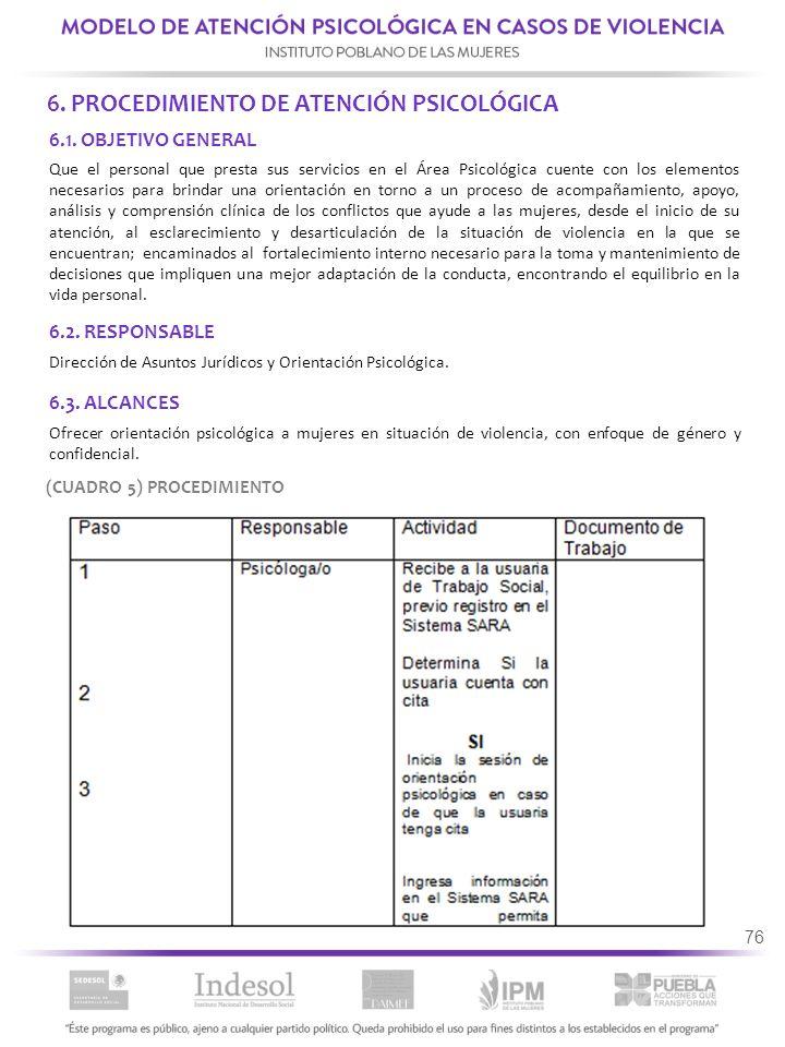 6. PROCEDIMIENTO DE ATENCIÓN PSICOLÓGICA