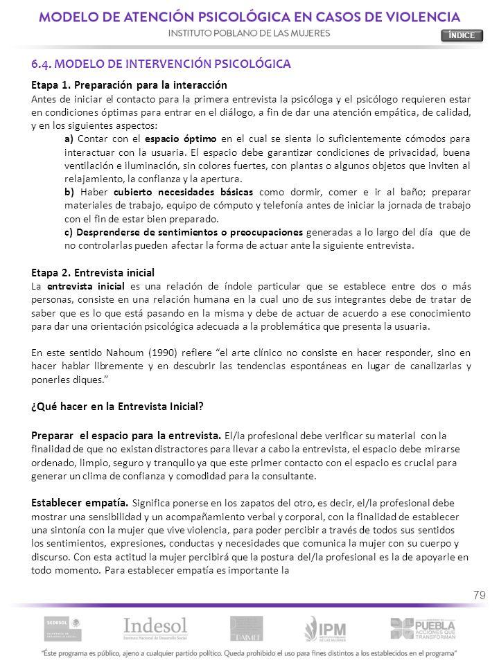 6.4. MODELO DE INTERVENCIÓN PSICOLÓGICA