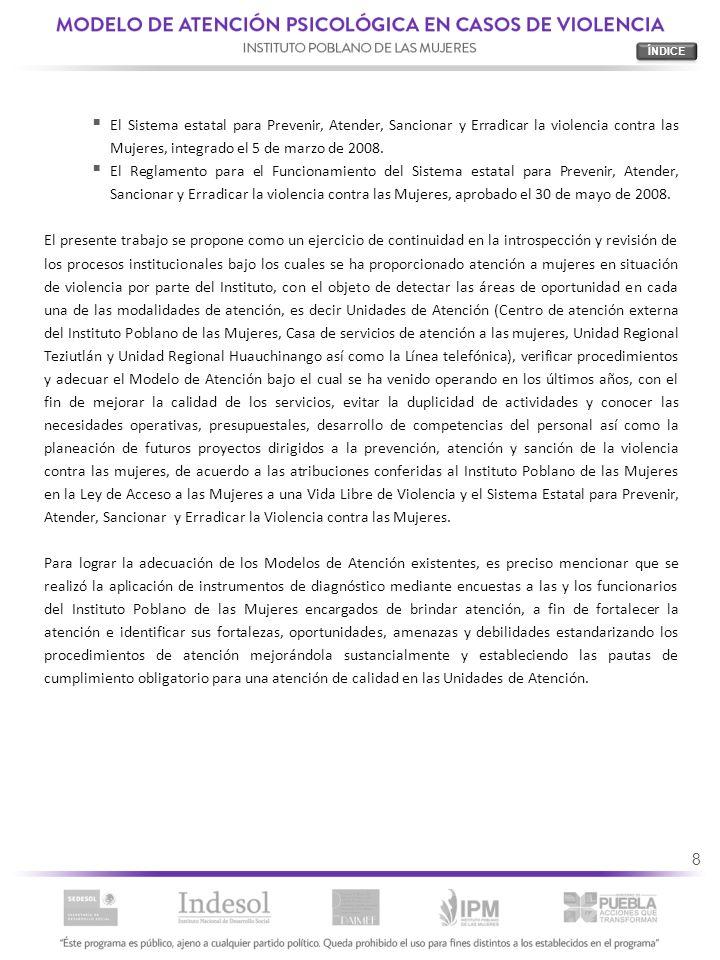ÍNDICE El Sistema estatal para Prevenir, Atender, Sancionar y Erradicar la violencia contra las Mujeres, integrado el 5 de marzo de 2008.