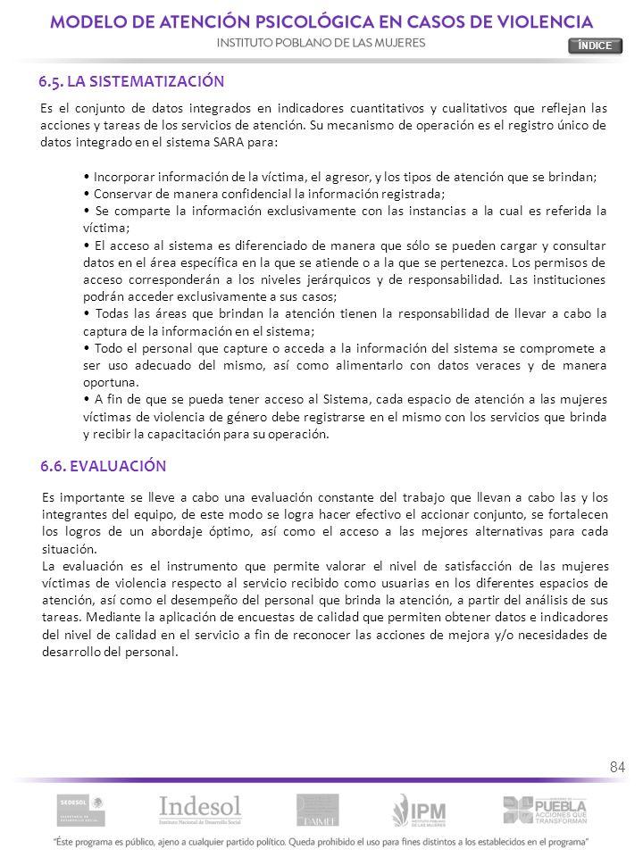 6.5. LA SISTEMATIZACIÓN 6.6. EVALUACIÓN