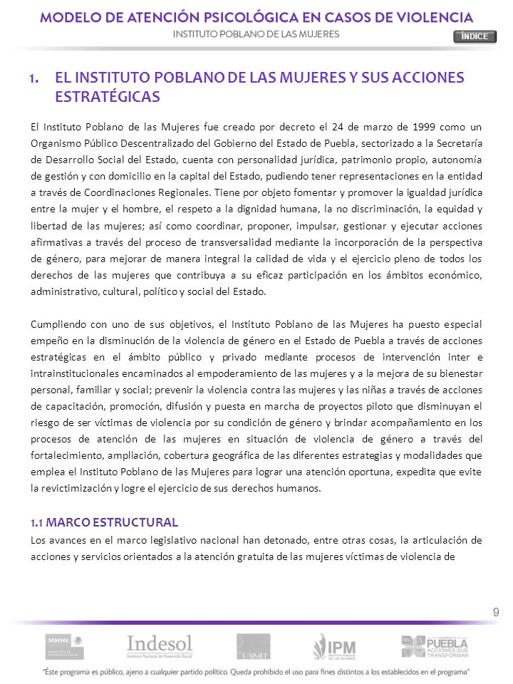 EL INSTITUTO POBLANO DE LAS MUJERES Y SUS ACCIONES ESTRATÉGICAS