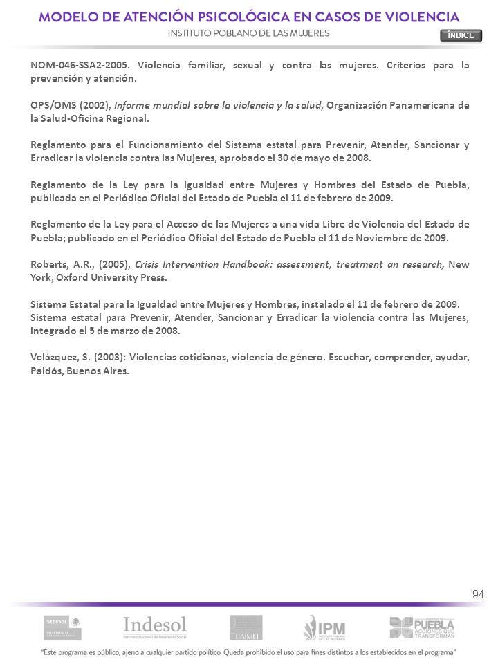 ÍNDICE NOM-046-SSA2-2005. Violencia familiar, sexual y contra las mujeres. Criterios para la prevención y atención.