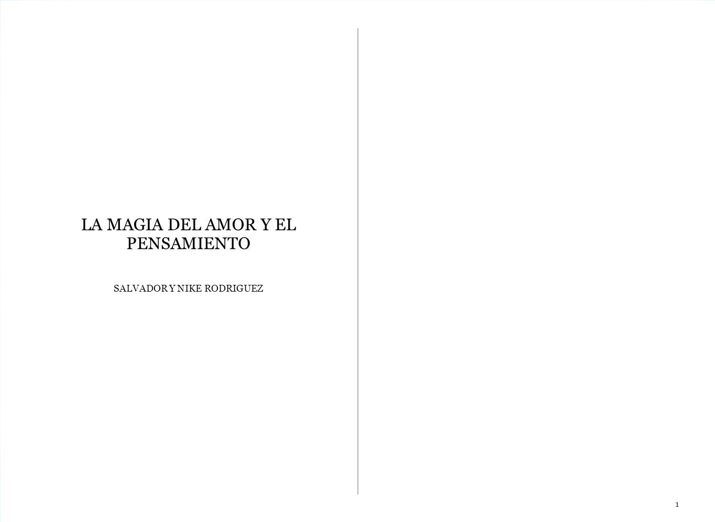 LA MAGIA DEL AMOR Y EL PENSAMIENTO SALVADOR Y NIKE RODRIGUEZ 1