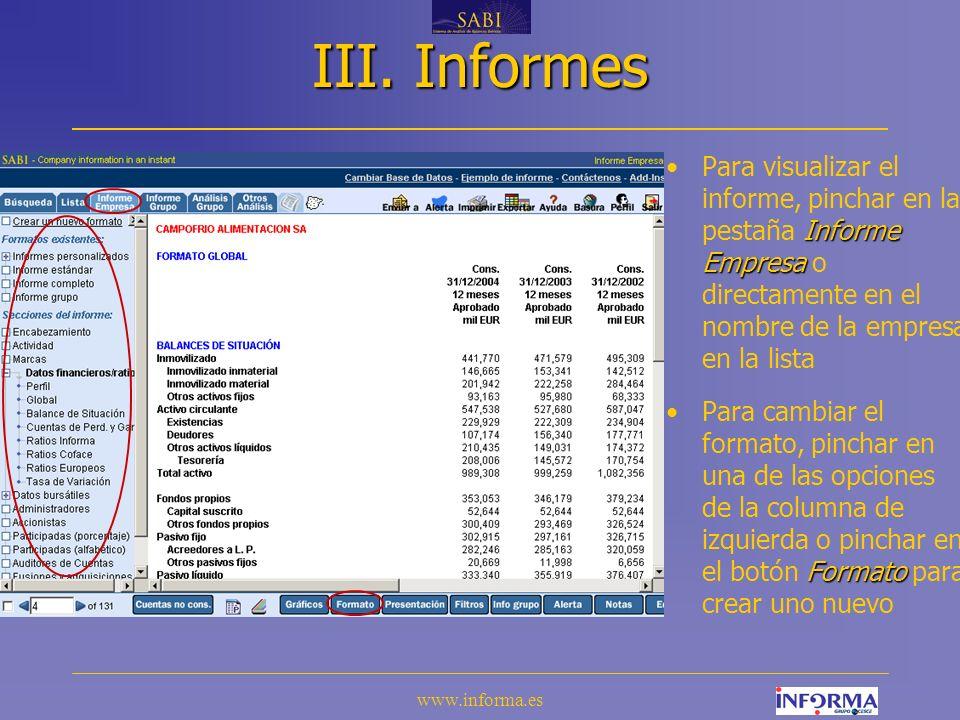 III. Informes Para visualizar el informe, pinchar en la pestaña Informe Empresa o directamente en el nombre de la empresa en la lista.