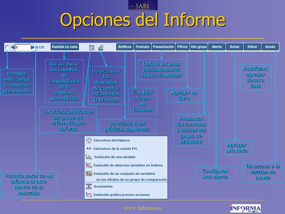 Opciones del Informe www.informa.es