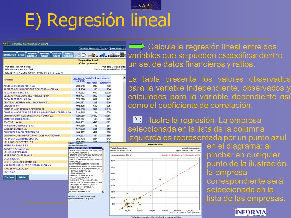 E) Regresión lineal Calcula la regresión lineal entre dos variables que se pueden especificar dentro un set de datos financieros y ratios.