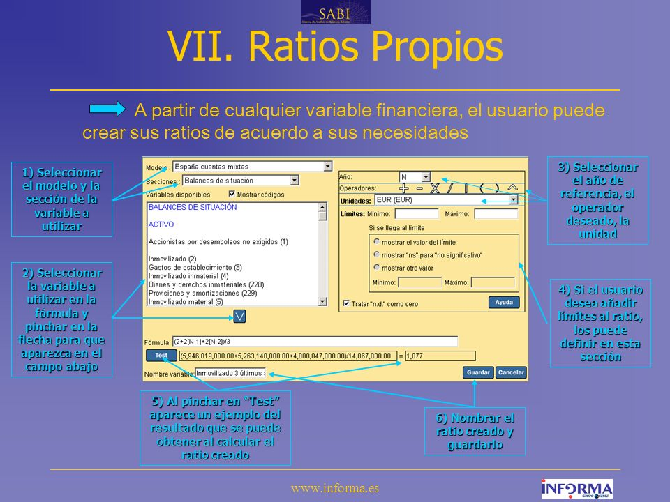 VII. Ratios Propios A partir de cualquier variable financiera, el usuario puede crear sus ratios de acuerdo a sus necesidades.