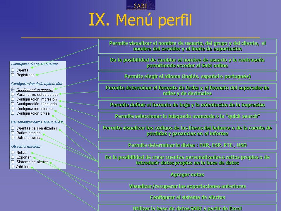 IX. Menú perfil www.informa.es