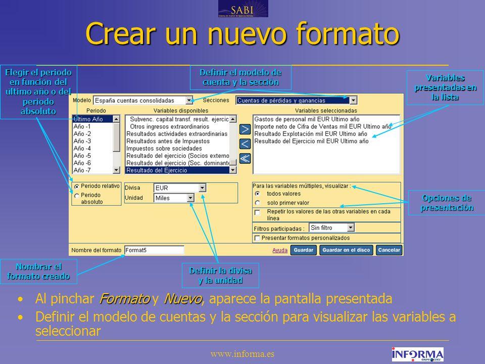 Crear un nuevo formato Elegir el periodo en función del último año o del periodo absoluto. Definir el modelo de cuenta y la sección.