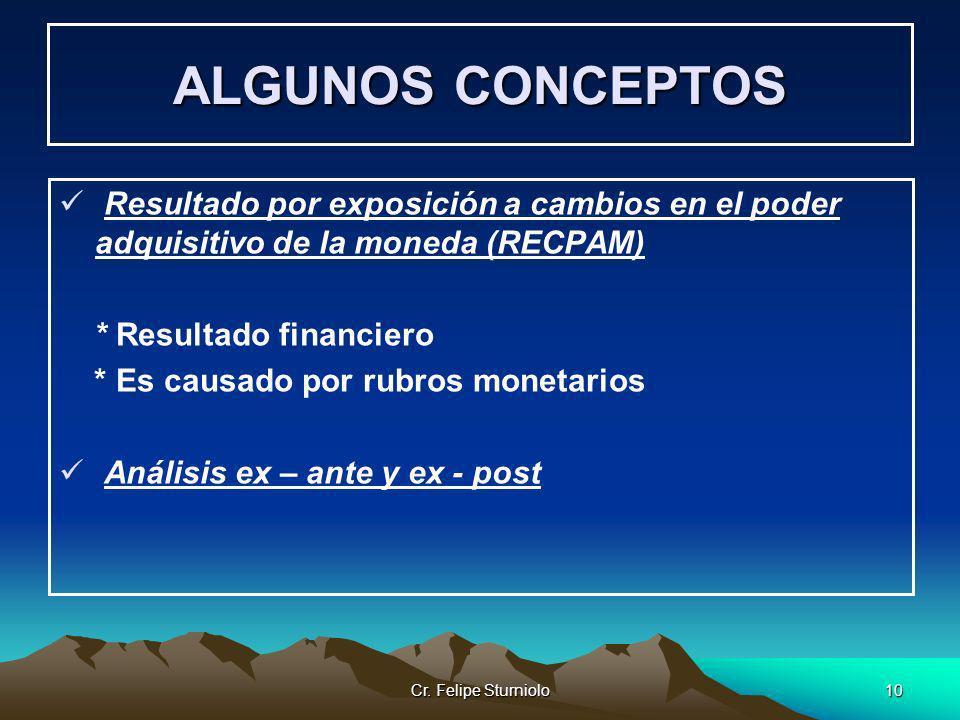 ALGUNOS CONCEPTOS Resultado por exposición a cambios en el poder adquisitivo de la moneda (RECPAM) * Resultado financiero.