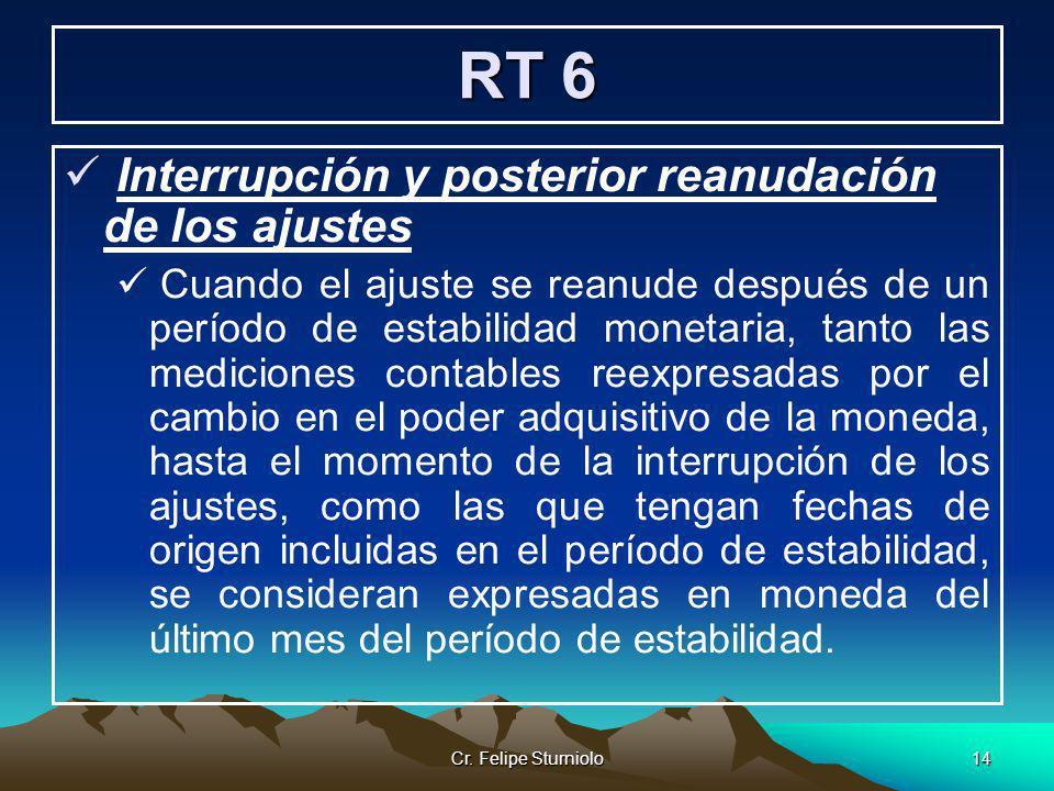 RT 6 Interrupción y posterior reanudación de los ajustes
