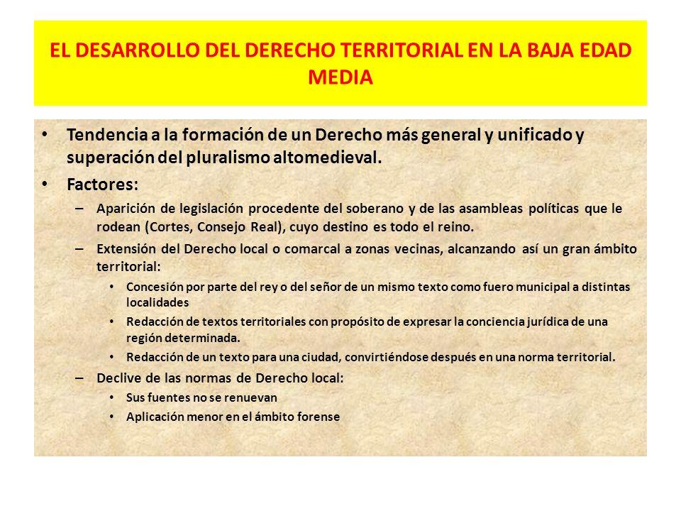 EL DESARROLLO DEL DERECHO TERRITORIAL EN LA BAJA EDAD MEDIA