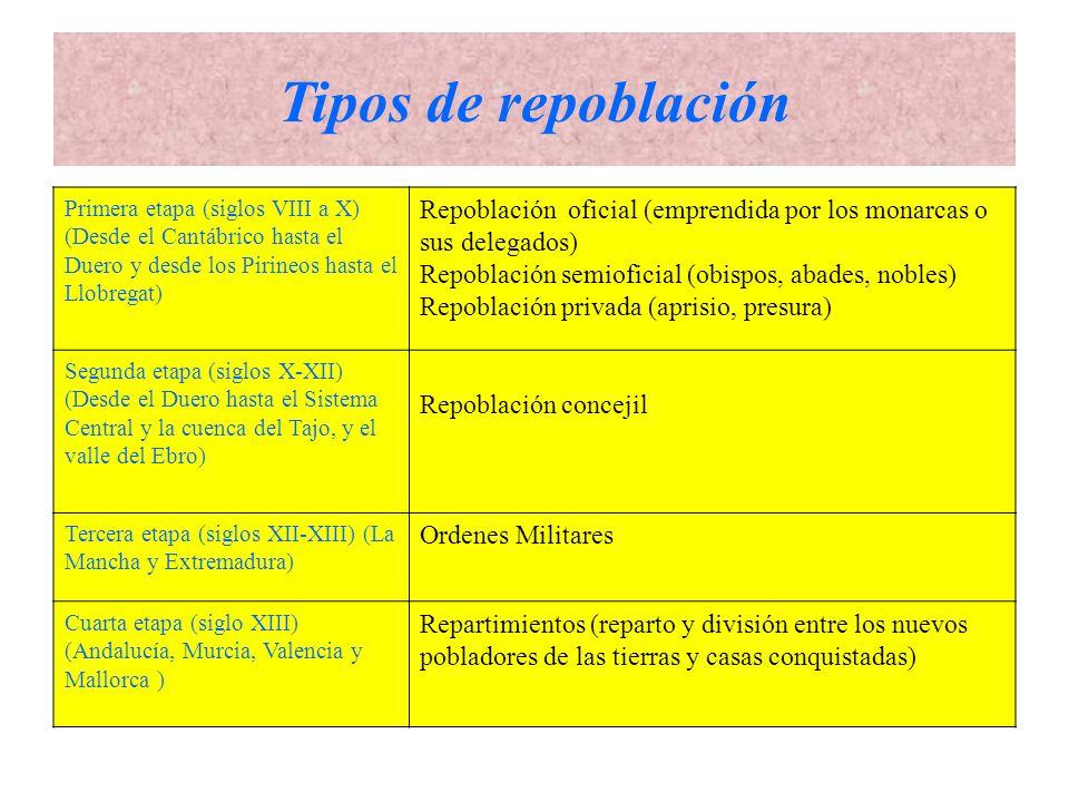 Tipos de repoblación Primera etapa (siglos VIII a X) (Desde el Cantábrico hasta el Duero y desde los Pirineos hasta el Llobregat)
