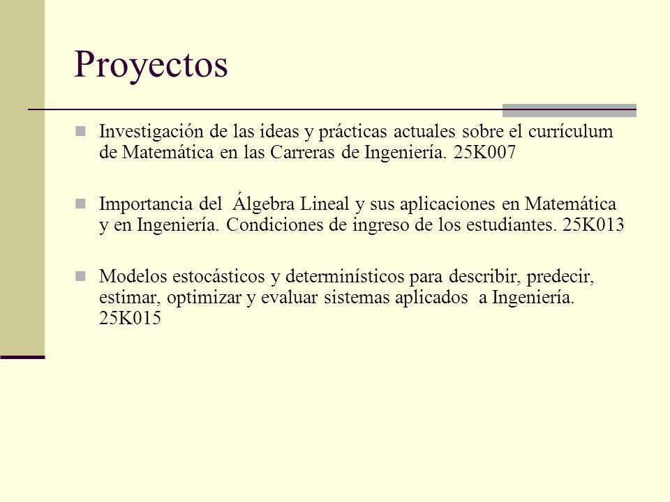 Proyectos Investigación de las ideas y prácticas actuales sobre el currículum de Matemática en las Carreras de Ingeniería. 25K007.