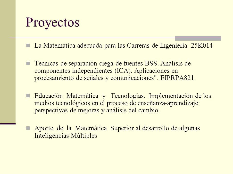 Proyectos La Matemática adecuada para las Carreras de Ingeniería. 25K014.