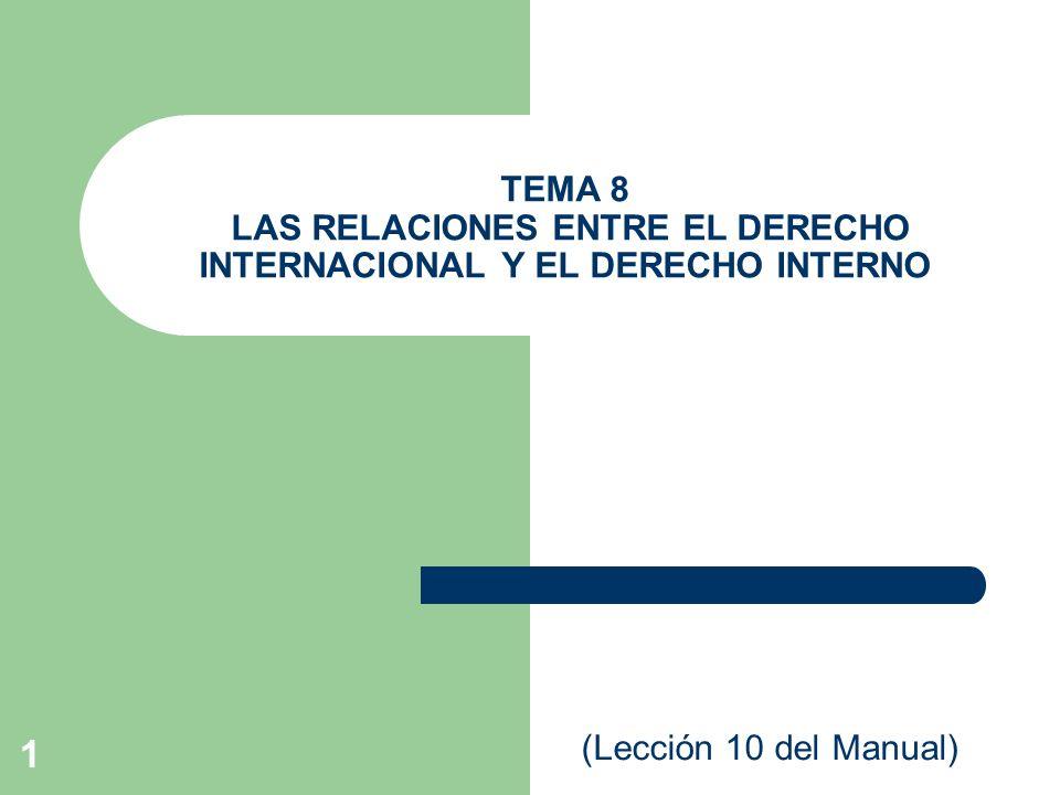 TEMA 8 LAS RELACIONES ENTRE EL DERECHO INTERNACIONAL Y EL DERECHO INTERNO