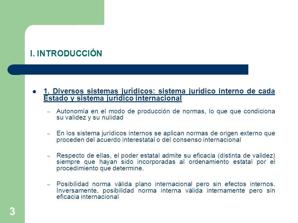 I. INTRODUCCIÓN 1. Diversos sistemas jurídicos: sistema jurídico interno de cada Estado y sistema jurídico internacional.