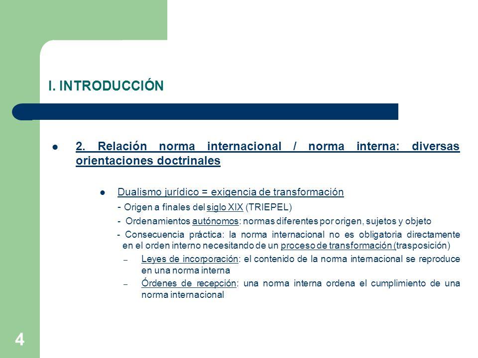I. INTRODUCCIÓN 2. Relación norma internacional / norma interna: diversas orientaciones doctrinales.