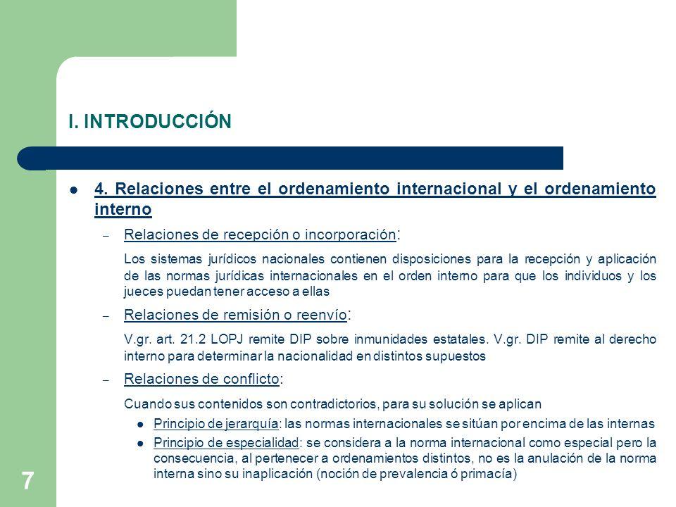 I. INTRODUCCIÓN 4. Relaciones entre el ordenamiento internacional y el ordenamiento interno. Relaciones de recepción o incorporación: