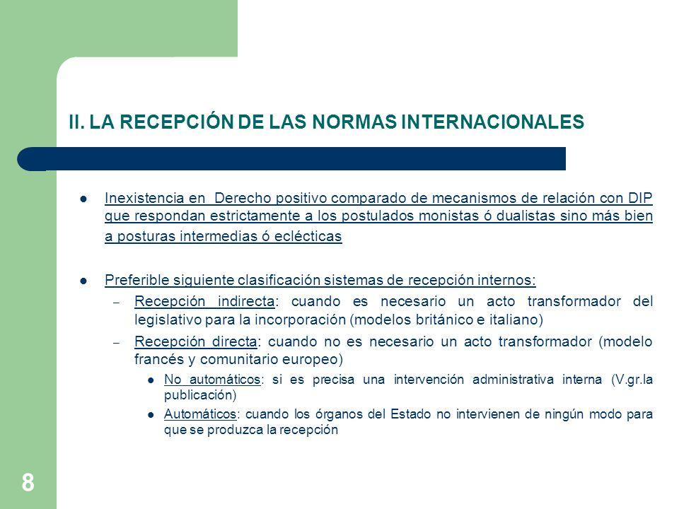 II. LA RECEPCIÓN DE LAS NORMAS INTERNACIONALES