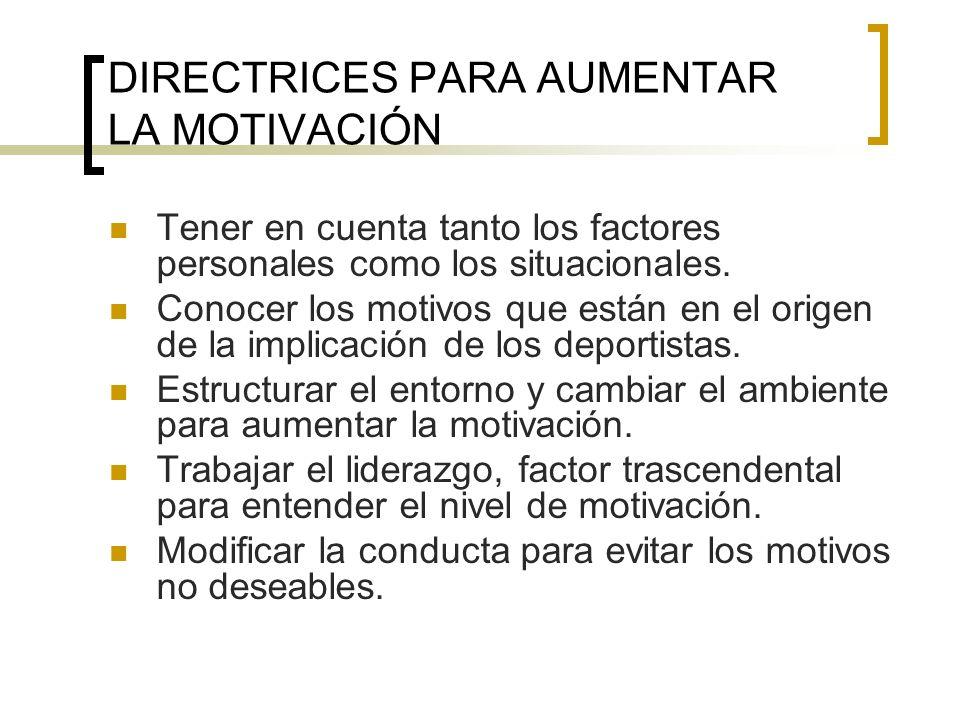 DIRECTRICES PARA AUMENTAR LA MOTIVACIÓN