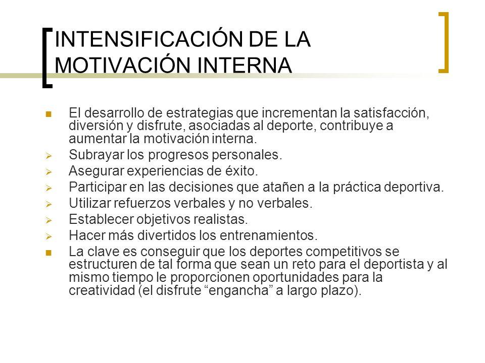 INTENSIFICACIÓN DE LA MOTIVACIÓN INTERNA