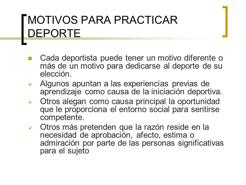 MOTIVOS PARA PRACTICAR DEPORTE
