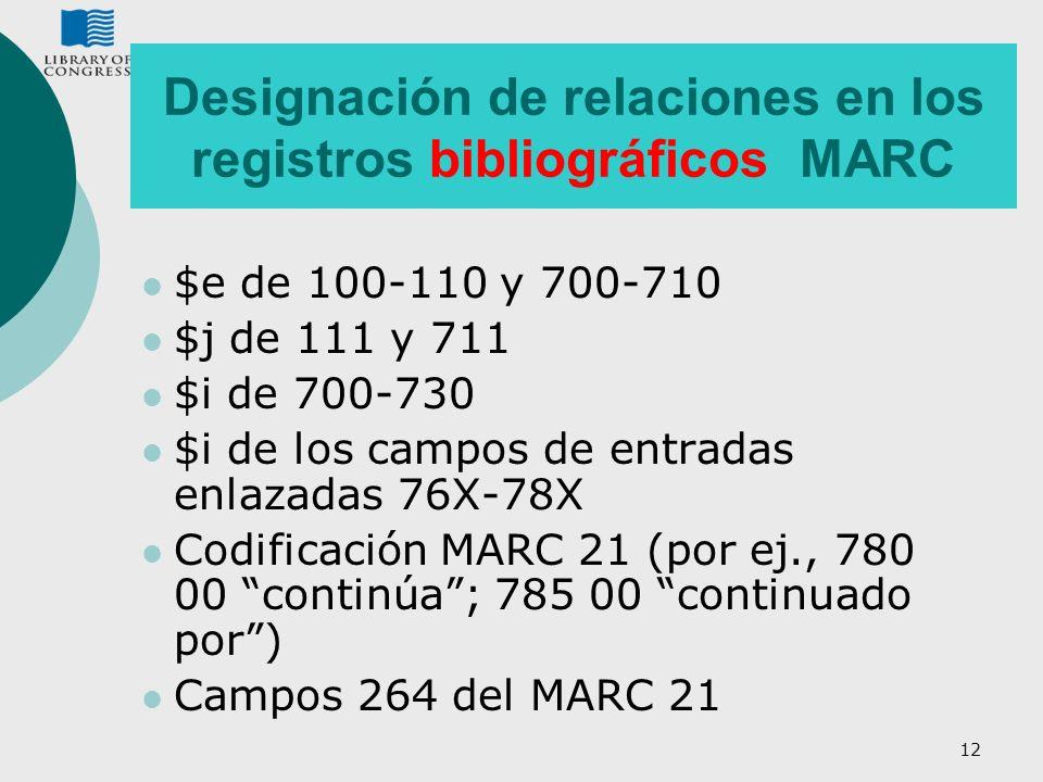 Designación de relaciones en los registros bibliográficos MARC