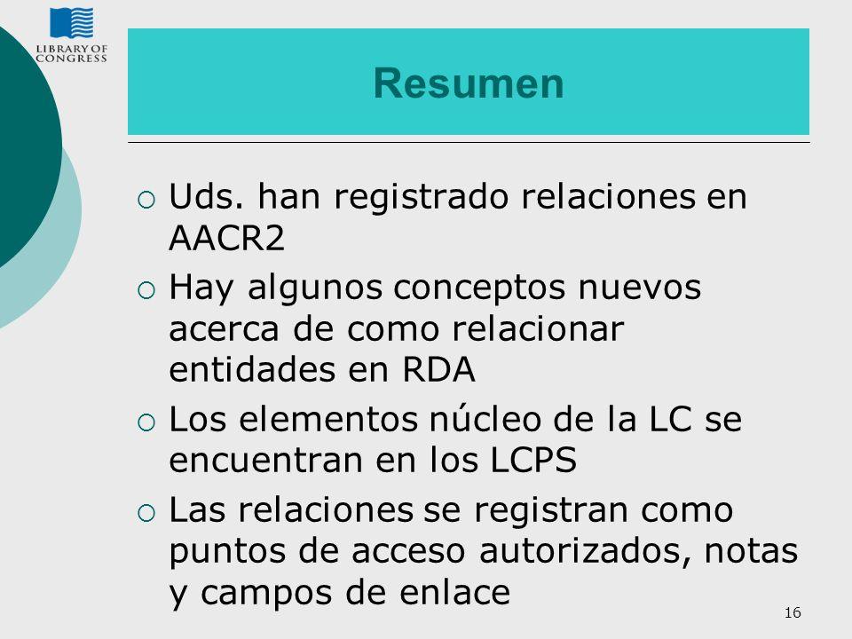 Resumen Uds. han registrado relaciones en AACR2