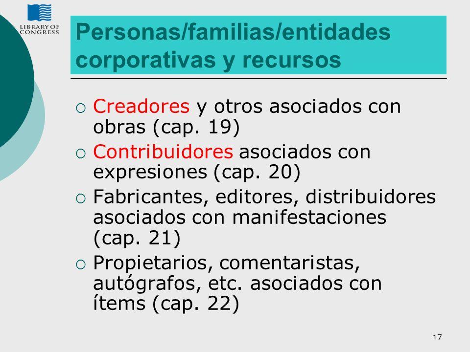 Personas/familias/entidades corporativas y recursos