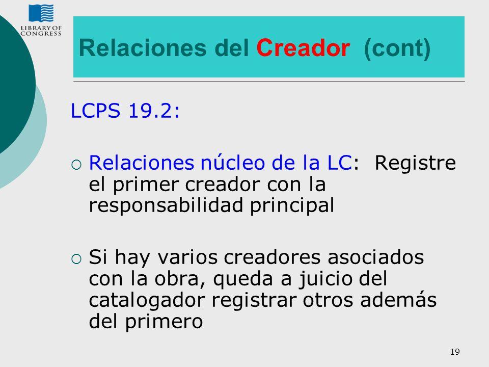 Relaciones del Creador (cont)